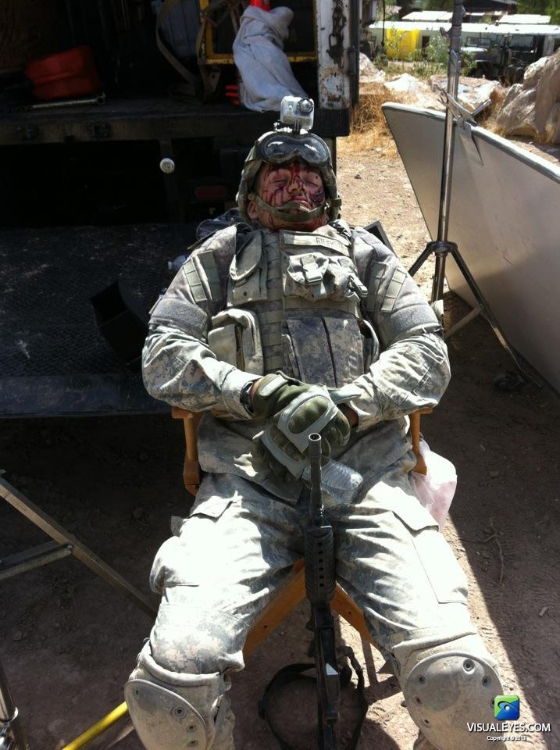 SFC Reiley in make up in between takes