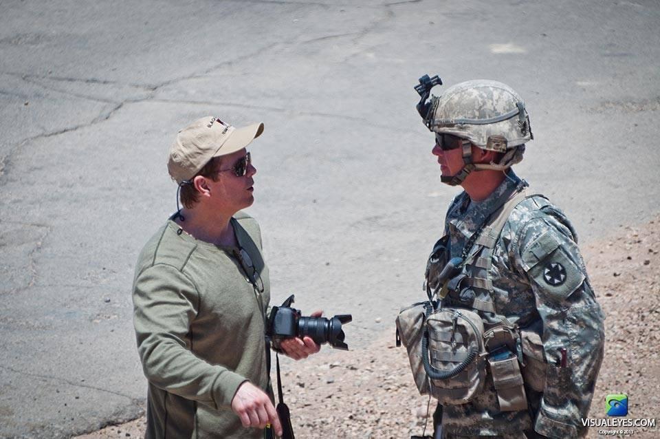 Dr. Gerard Gibbons Director VISUAL EYES Emotive Storytelling Team interviews CPT Tillman with the Stryker Brigade Combat Team