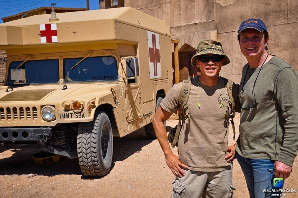 Dr. Gerard Gibbons with VISUAL EYES Emotive Storytelling Team writer Thom Tran at Ft. Irwin for US Army Office of the Surgeon General.