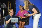 Dr. Gerard Gibbons and Kela Holmes VISUAL EYES Emotive Storytelling Team during Virtual Health Assistant project