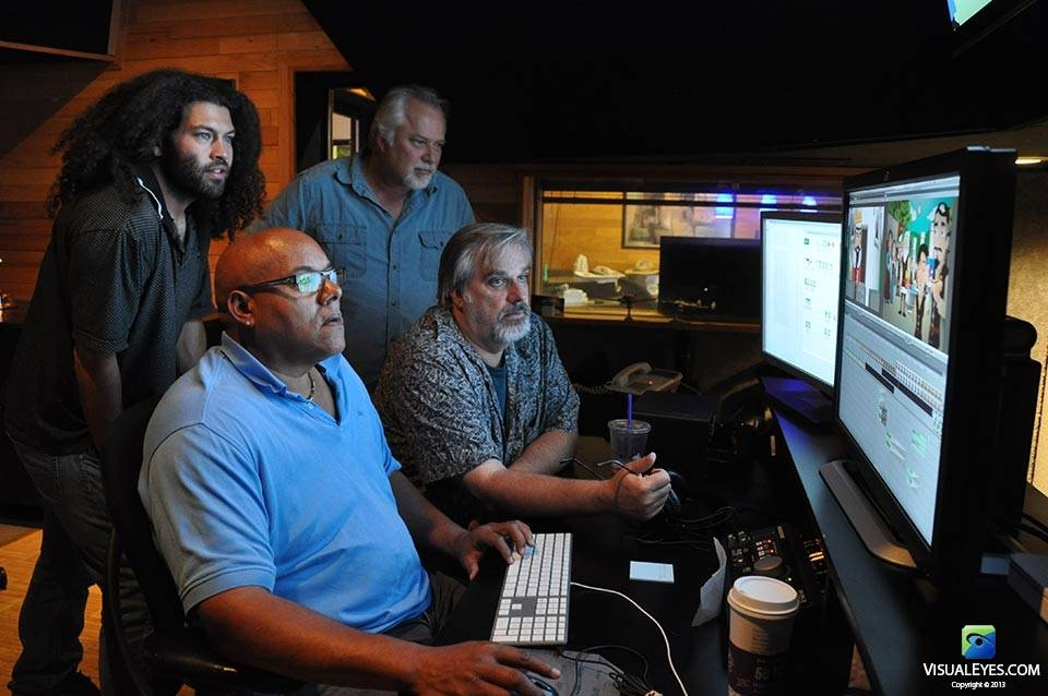 VISUAL EYES Emotive Storytelling Team in Edit Bay 1 during King Cognos and the Wrong Brain production