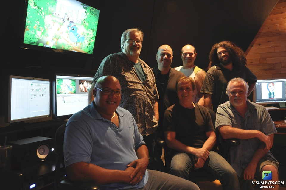 VISUAL EYES Emotive Storytelling Team in Edit Bay 1 during King Cognos and the Wrong Brain production.