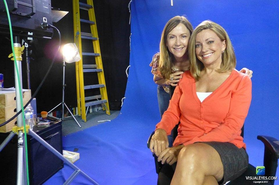 Sheri Headly VISUAL EYES Emotive Storytelling Team on set with Julia Parker during Virtual Health Assistant project