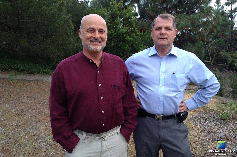Dr. Richard Satava and David Brin with VISUAL EYES Emotive Storytelling Team