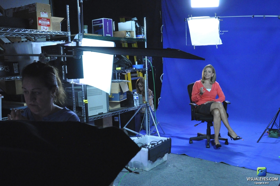 VISUAL EYES Emotive Storytelling Team on set with Julia Parker during Virtual Health Assistant project