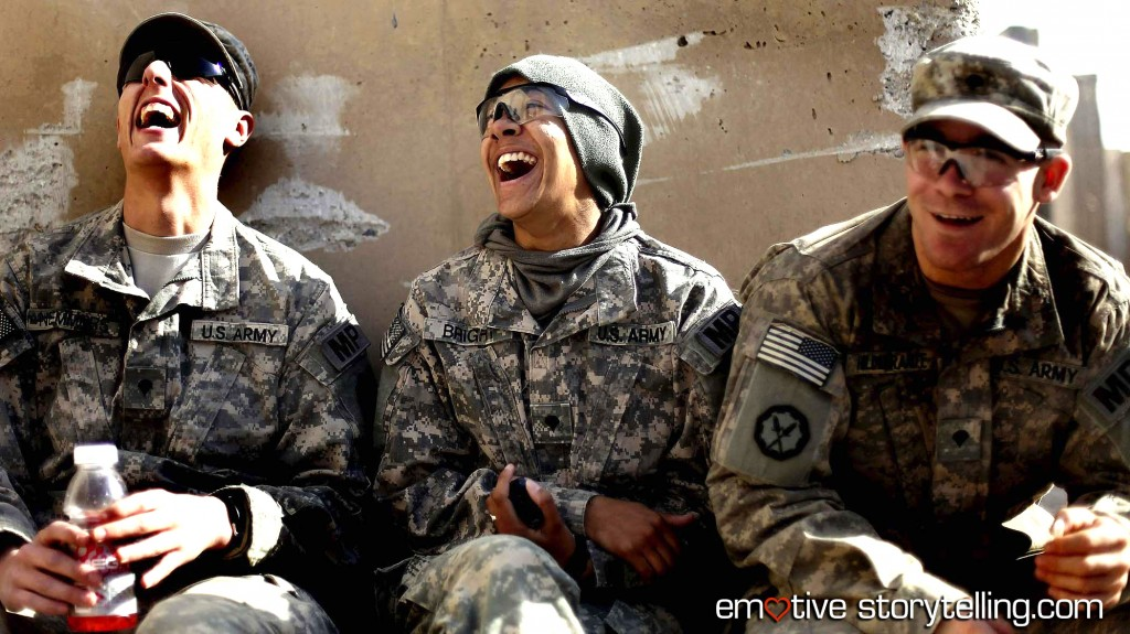 Soldiers Peter Nemmers, Morgan Bright and Matthew Hildebrandt from the 3rd Brigade, 1st Cavalry Division laugh while preparing to depart from Iraq at Imam Ali Base on December 17.(Mario Tama/Reuters)